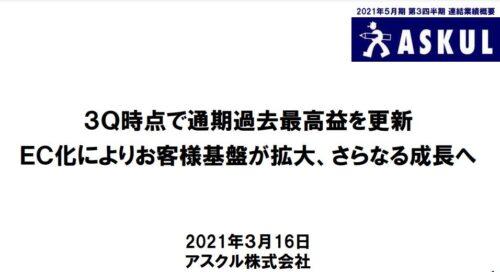 アスクル2021年5月期3Q決算
